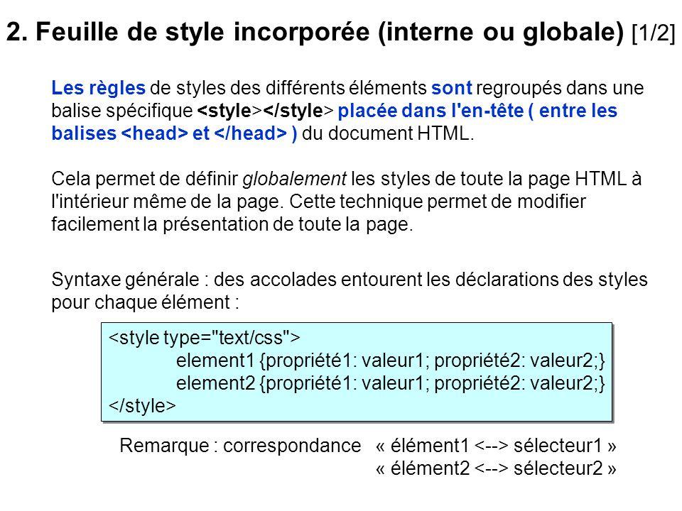 2. Feuille de style incorporée (interne ou globale) [1/2]